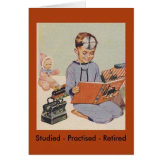 Boy playing Doctor  - Retro Card