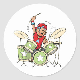 Boy Playing Drums Stickers