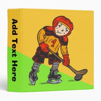 Boy Playing Hockey 3 Ring Binder
