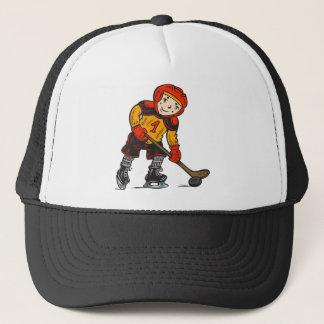 Boy Playing Hockey Trucker Hat