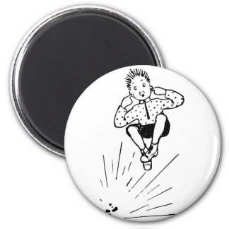 Boy Playing With Firework Illustration Magnet