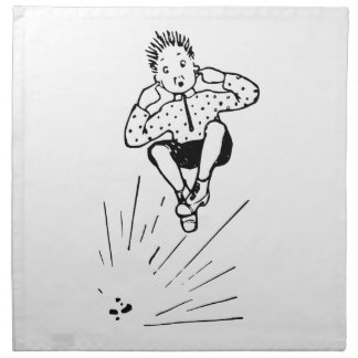 Boy Playing With Firework Illustration Napkin