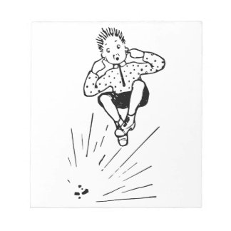 Boy Playing With Firework Illustration Notepad