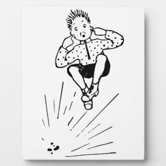 Boy Playing With Firework Illustration Plaque