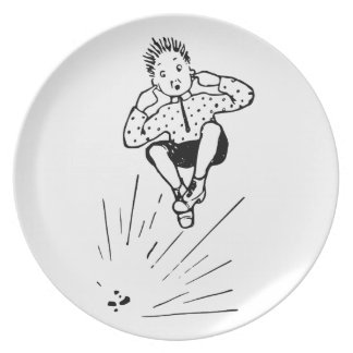 Boy Playing With Firework Illustration Plates