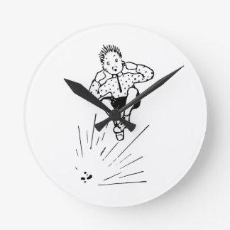 Boy Playing With Firework Illustration Round Clock