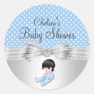 Boy Polka Dot Baby Shower Sticker
