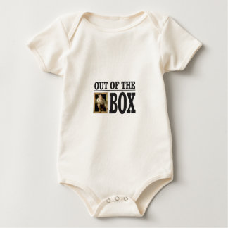boy pops out of box baby bodysuit