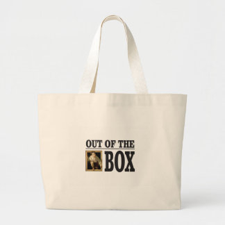 boy pops out of box large tote bag