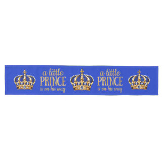 Boy Prince is on his way Royal Blue Gold Crown Medium Table Runner