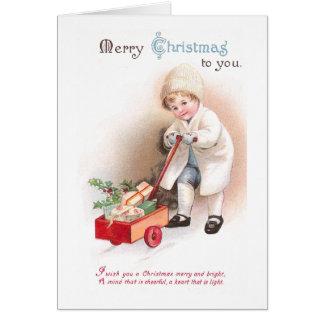 Boy Pulling Cart Full of Christmas Presents Card