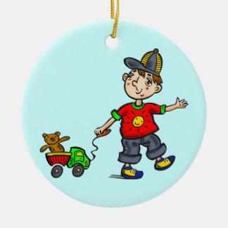 Boy Pulling Toy 2 Round Ceramic Ornament