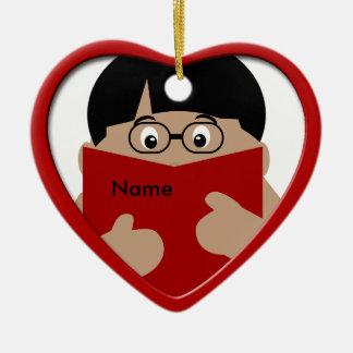 Boy Reading Christmas Heart Ornament 1
