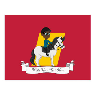 Boy riding a horse cartoon postcard