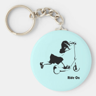 Boy Riding on Scooter Keychain