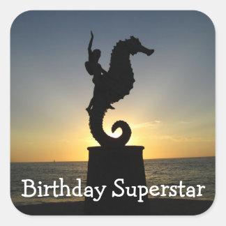 Boy Riding Seahorse; Happy Birthday Square Sticker