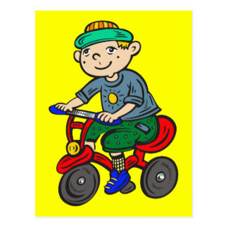 Boy Riding Tricycle Postcard