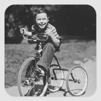 Boy Riding Tricycle Square Sticker