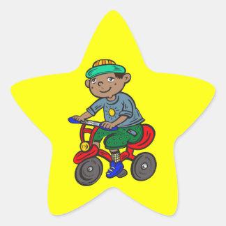 Boy Riding Tricycle Star Sticker