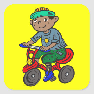 Boy Riding Tricycle Stickers