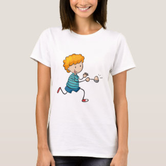 boy running in egg and spoon race T-Shirt