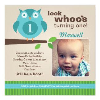 Boy s Birthday Party Photo Invitation Owl Theme