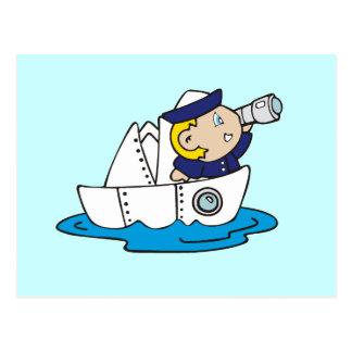 Boy Sailor in Boat Tshirts and Gifts Postcard