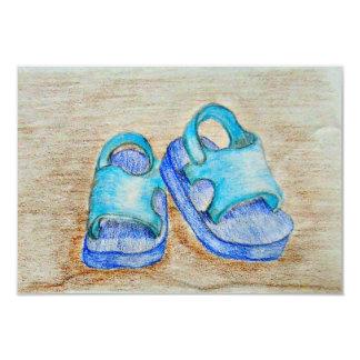 boy sandals 3.5x5 paper invitation card