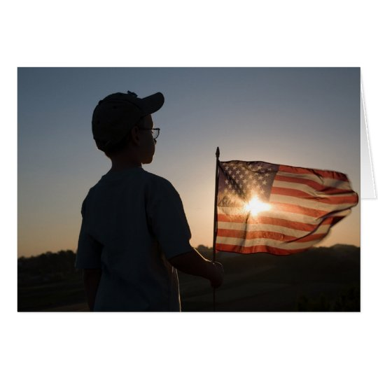 Boy Scout Holding USA Flag Card