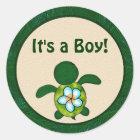 BOY Sea TURTLE Baby Shower (Honu) 02B blank #03 Classic Round Sticker