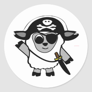 Boy Sheep in Pirate Costume Round Sticker