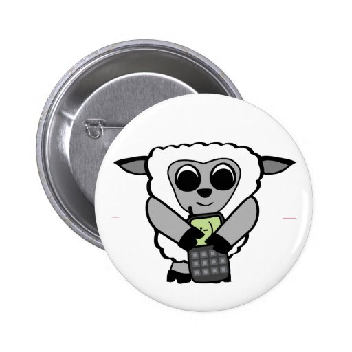 Boy Sheep with Cell Phone Button