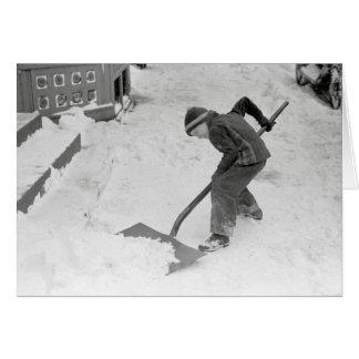 Boy Shovelling Snow, 1940 Card