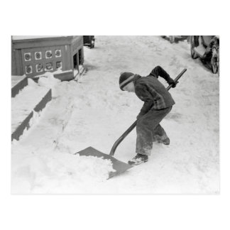 Boy Shovelling Snow, 1940 Postcard