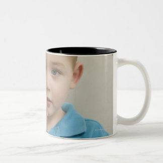 Boy signing the letter 'O' in American sign Two-Tone Coffee Mug