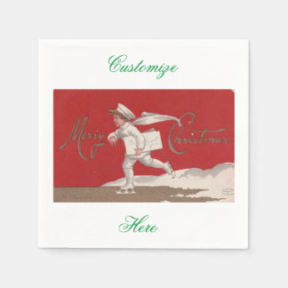 Boy Skating Vintage Thunder_Cove Christmas Disposable Napkin