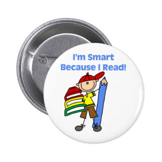 Boy Smart Because I Read Buttons