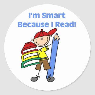 Boy Smart Because I Read Round Sticker
