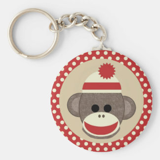 Boy Sock monkey keychain