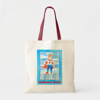 Boy Superhero Custom Name Tote Bag