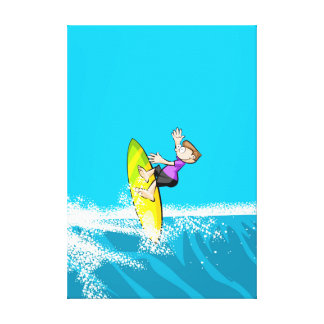 Boy surfing a wave that impels it strongly canvas print