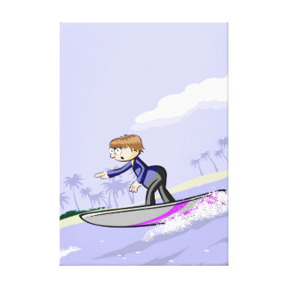 Boy surfing in the border of the beach canvas print