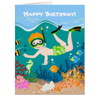 Boy swimmer has a birthday party card