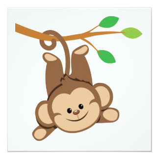 "Boy Swinging Monkey 5.25"" Square Invitation Card"