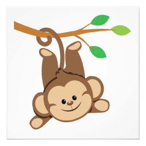Boy Swinging Monkey Custom Invitations