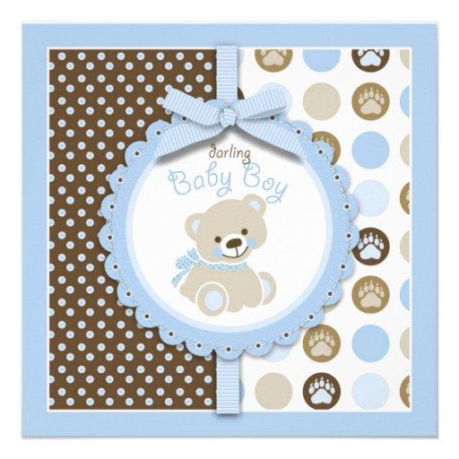 Boy Teddy Bear Baby Shower Invitation Square Custom Announcements