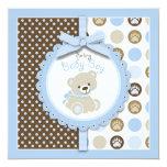 Boy Teddy Bear Baby Shower Invitation Square