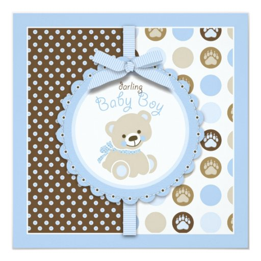 "Boy Teddy Bear Blank Square 5.25"" Square Invitation Card"