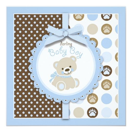 Boy Teddy Bear Blank Square Card
