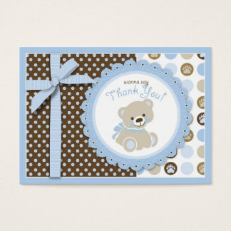 Boy Teddy Bear Thank You Gift Tag